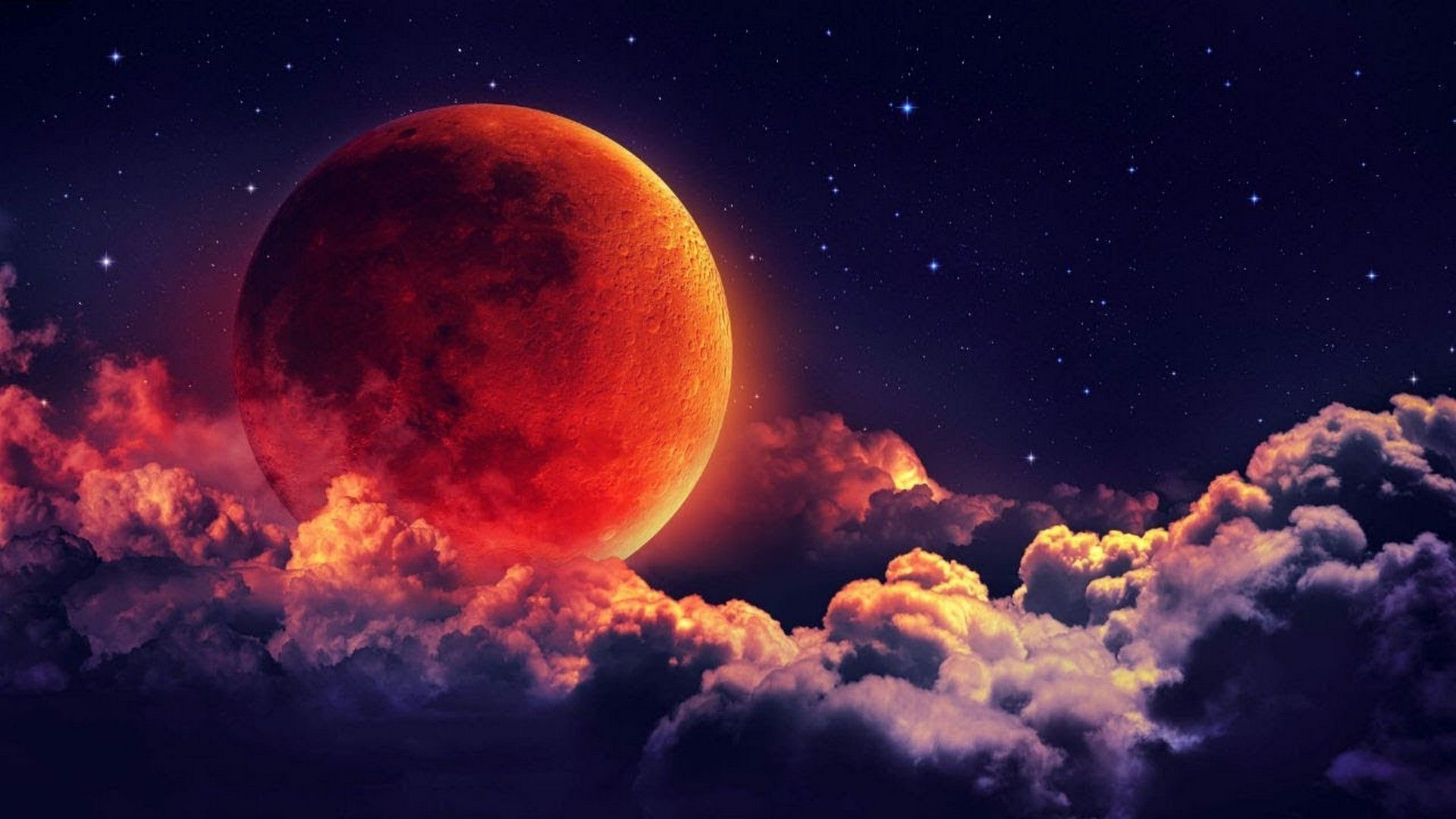 Blood Moon Wallpaper HD Blood moon Blood moon eclipse Red moon 1920x1080