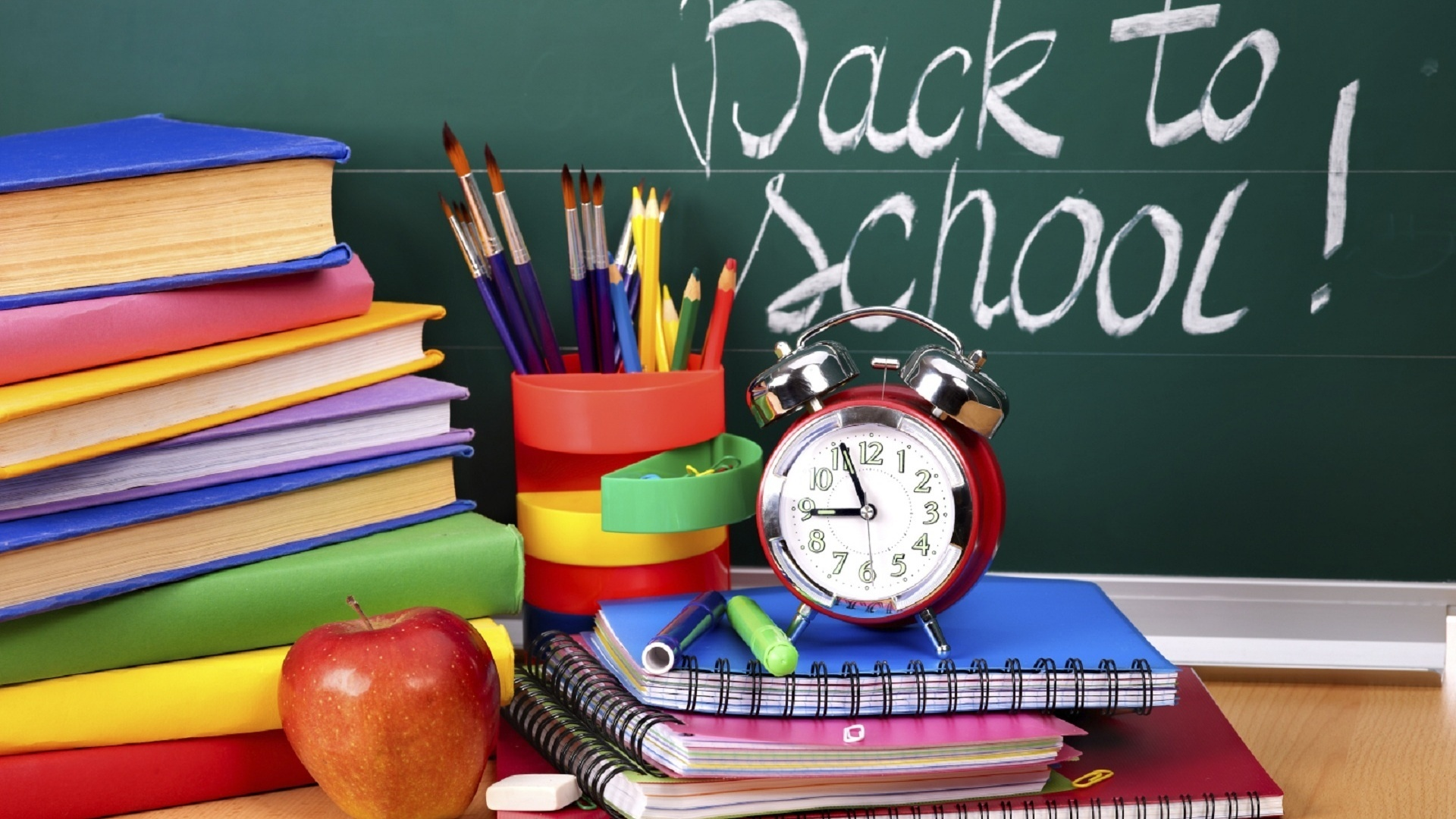 Apple books and crayons   Time for back to school 1920x1080