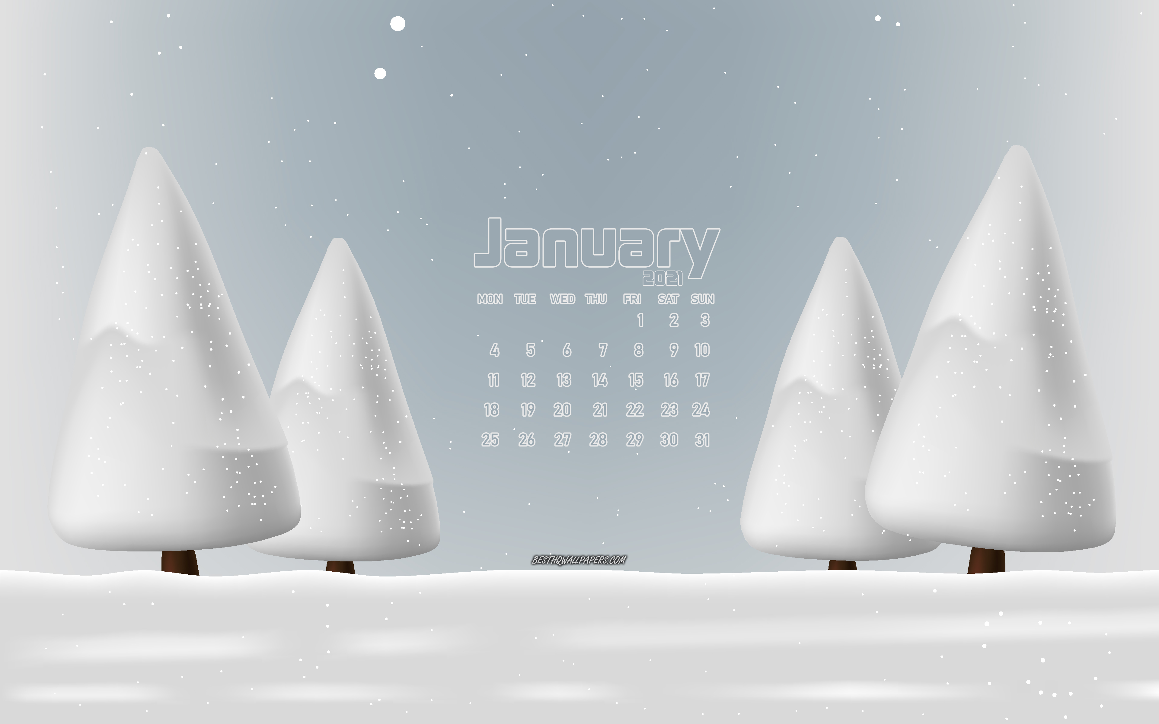 Download wallpapers 2021 January calendar 4k winter landscape 3840x2400