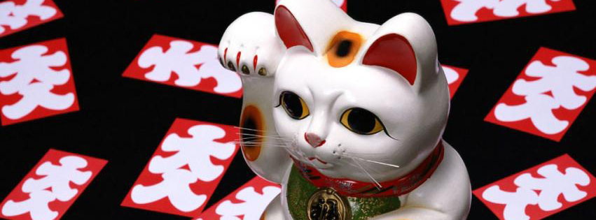 The Lucky Japanese Cat Facebook Cover 851x315