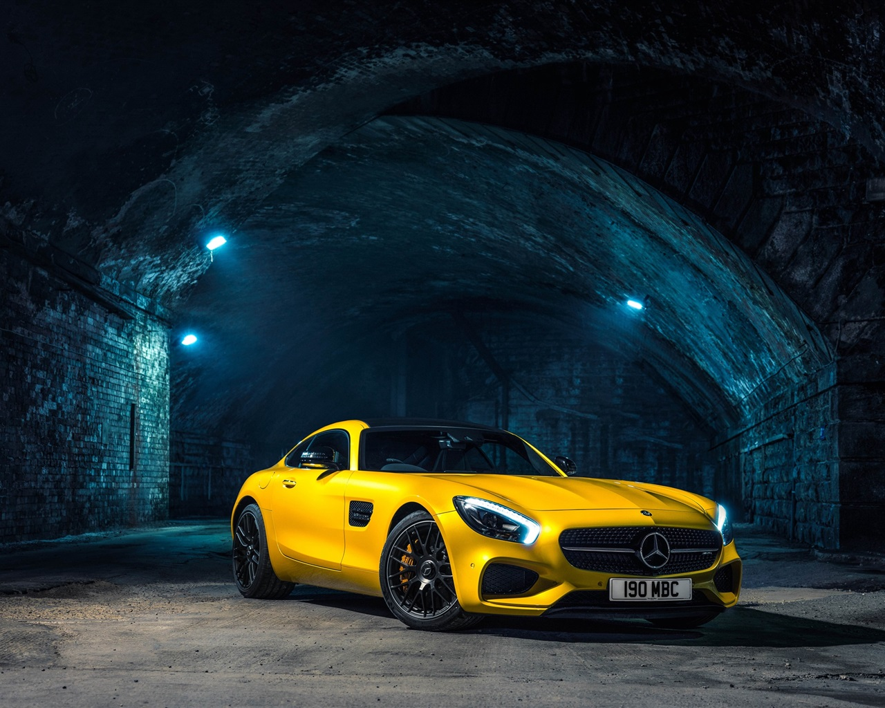 ... Mercedes-AMG GT C190 gelben supercar Hintergrundbilder - 1280x1024
