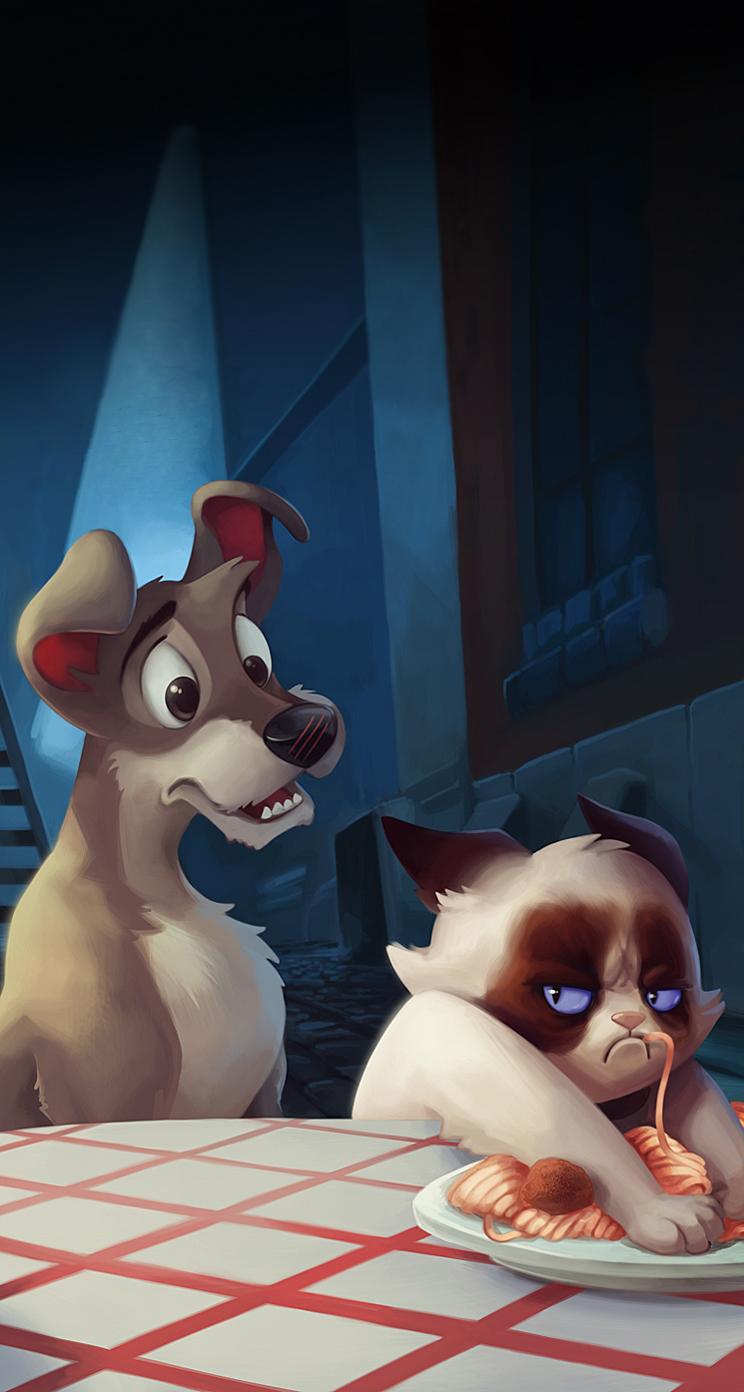 iPhone 5 Wallpaper Entertainment ios8 animation grumpy cat 744x1392