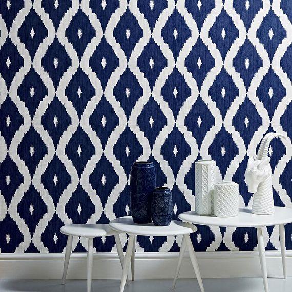 Self adhesive vinyl temporary removable wallpaper wall decal   Ikat 570x570