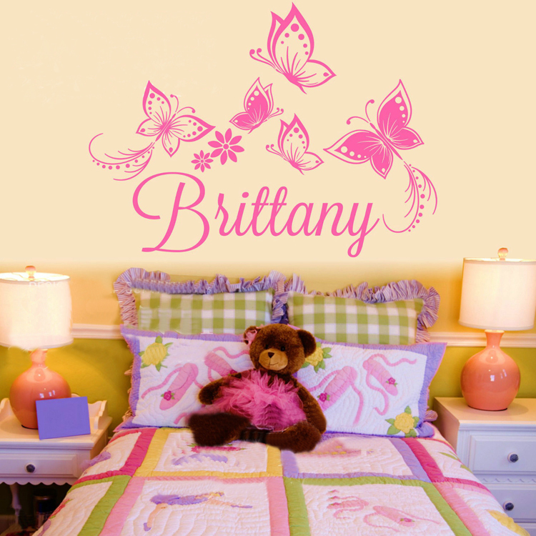 Flower Personalized Custom Name Vinyl Decal Beauty Girl Wallpapers 750x750