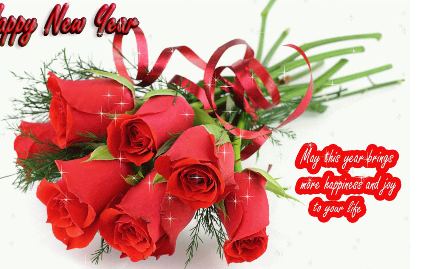 Happy New Year 2020 Red Rose Romantic Love Wallpaper Hd 1920x1080 1680x1050