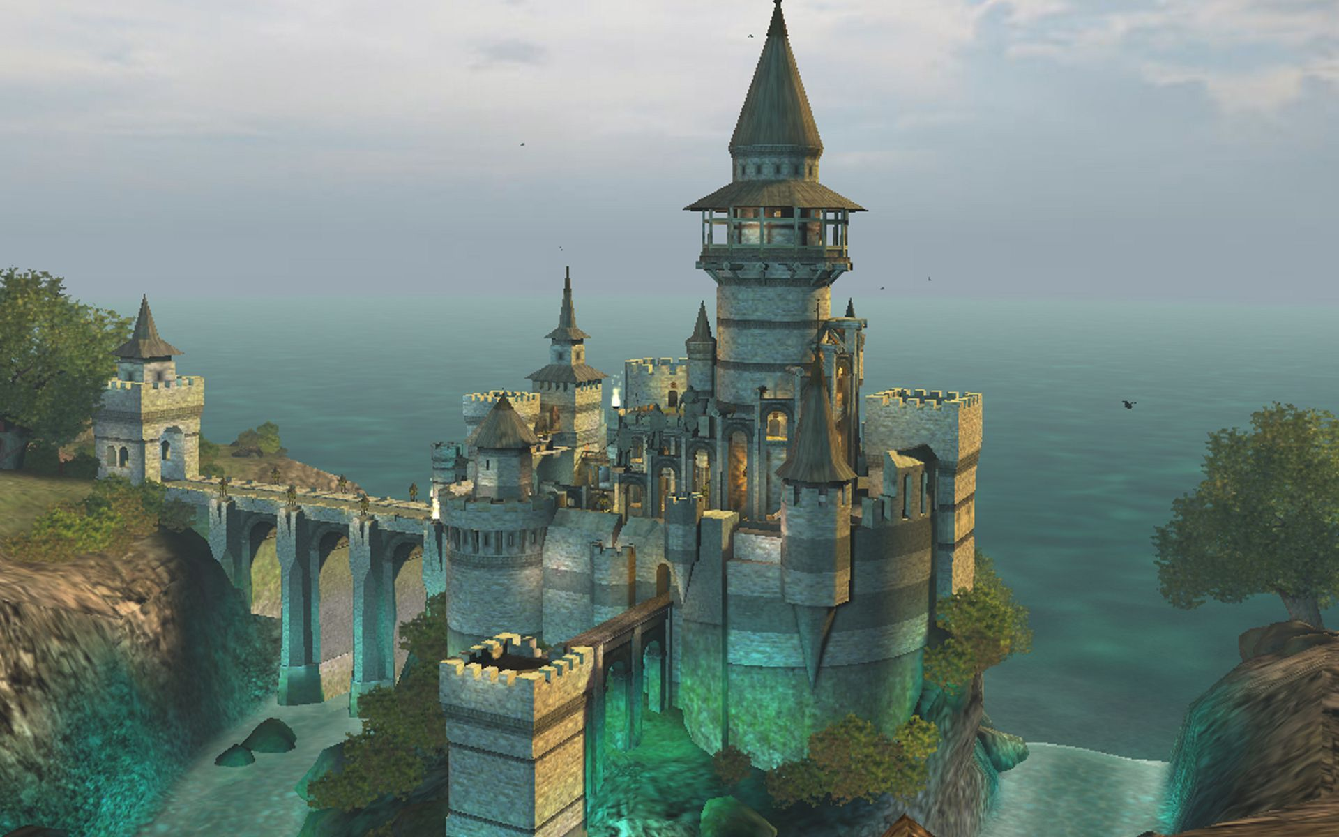 Once again who painted this Fantasy castle Castle background 1920x1200