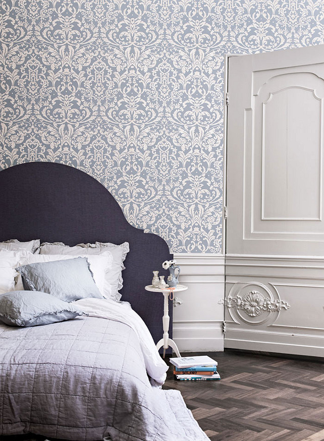 Powder Blue Ornamental Damask Wallpaper Damask Wallpaper 642x874