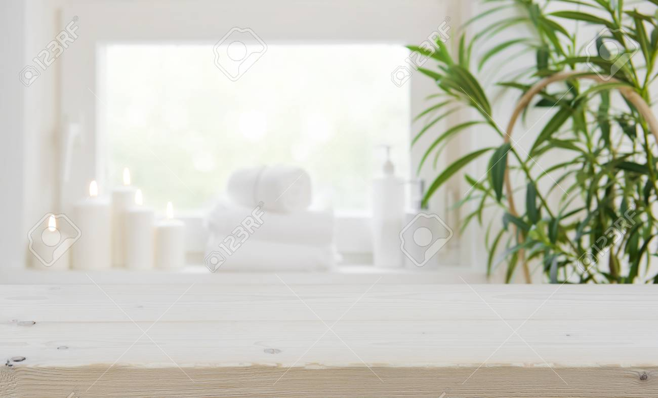 Wooden Tabletop With Copy Space Over Blurred Spa Window Background 1300x787
