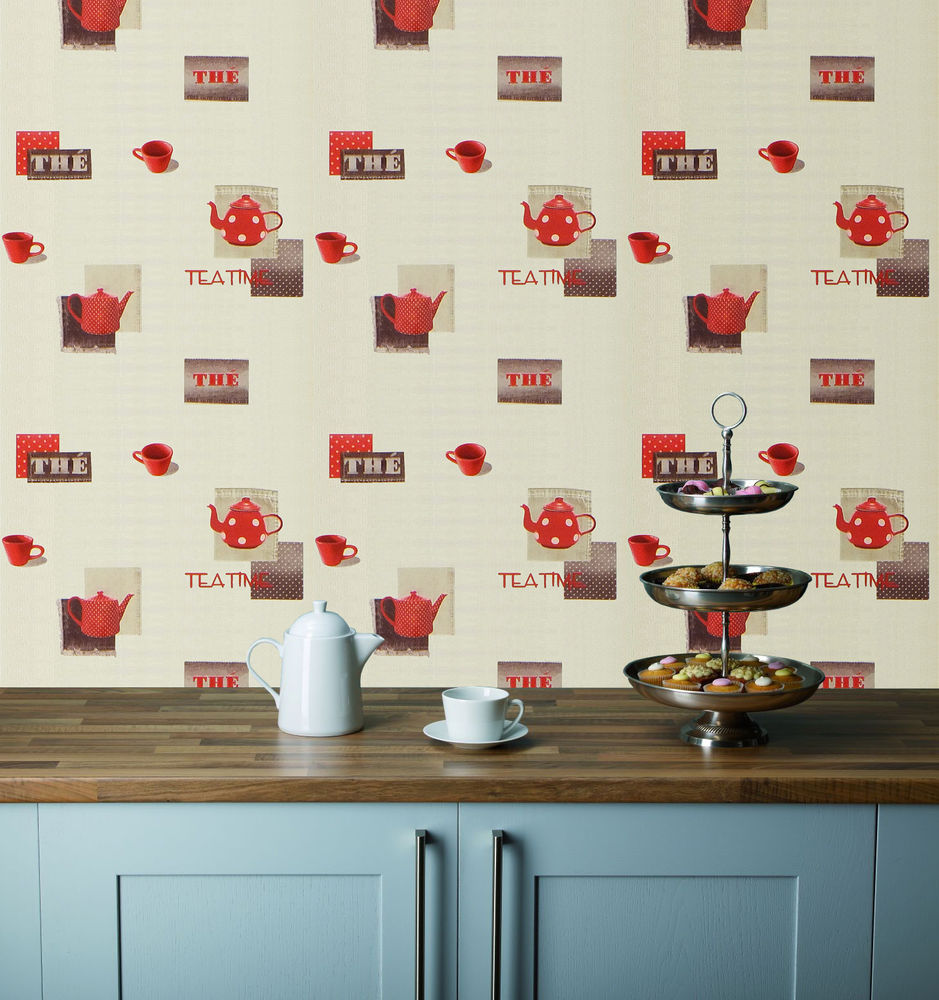 Cups on a Cream Background Washable Kitchen Wallpaper eBay 939x1000