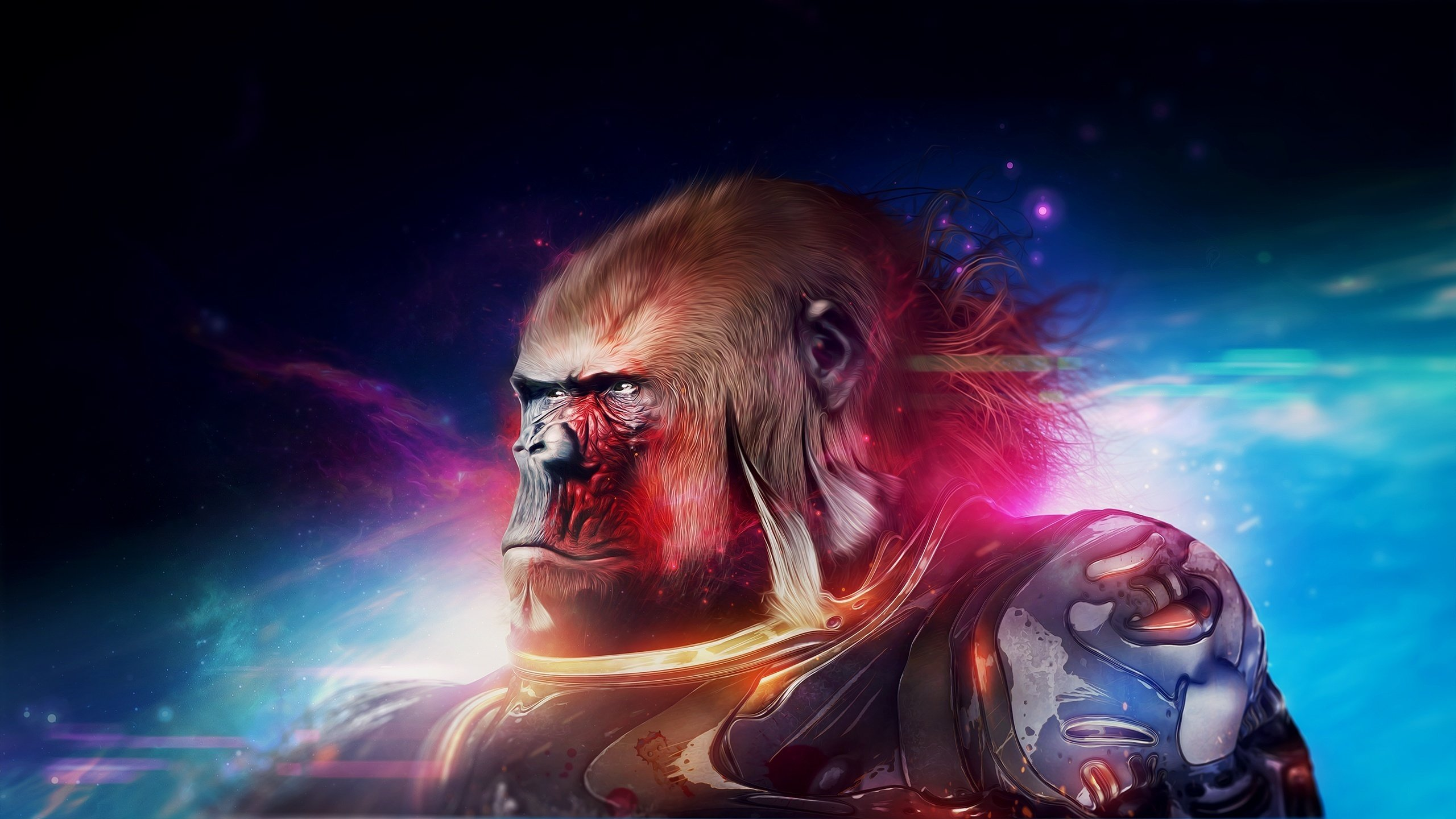 Monkey Warrior Fantasy planet apesw movie film gorilla wallpaper 2560x1440