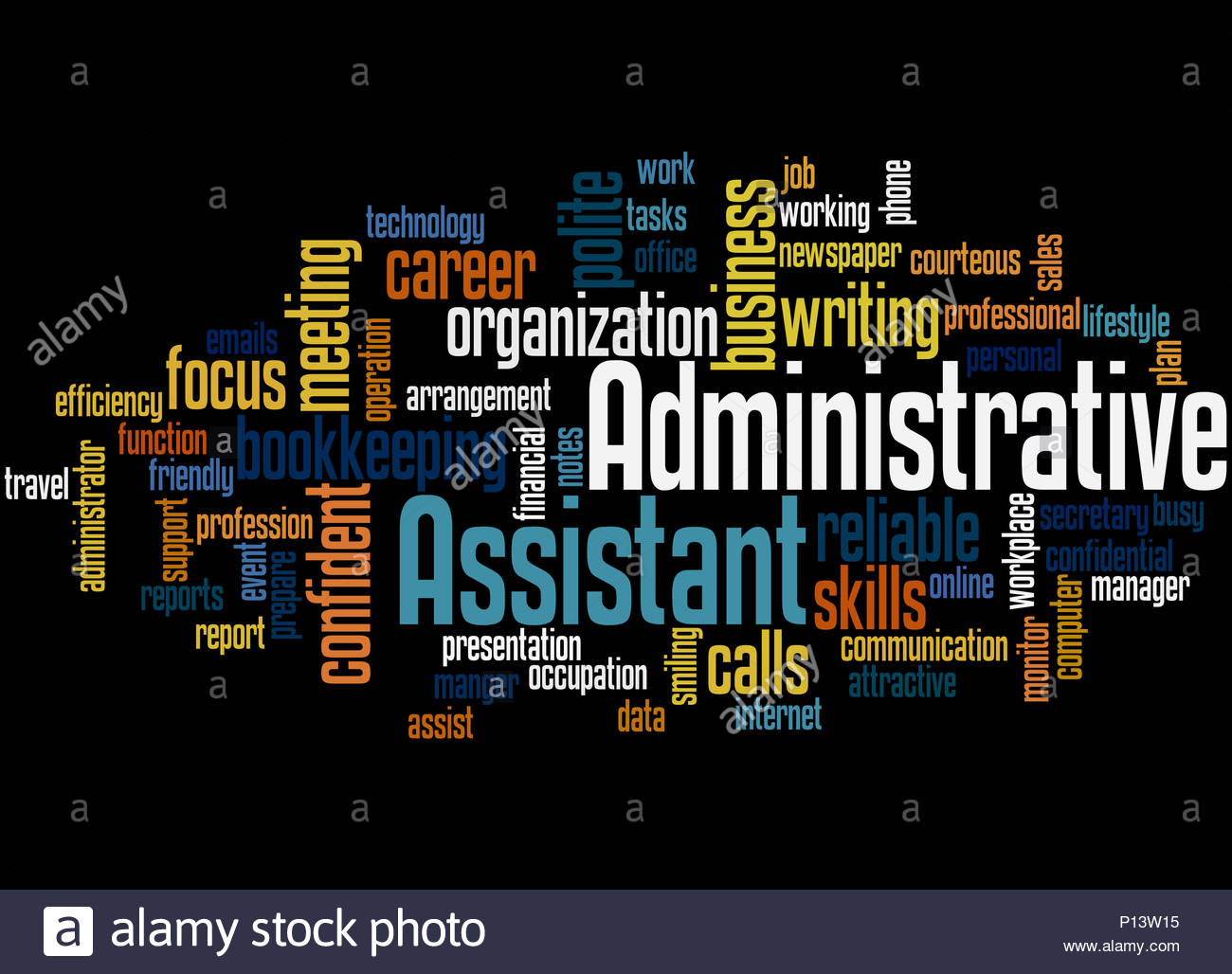 Administrative Assistant word cloud concept on black background 1300x1028