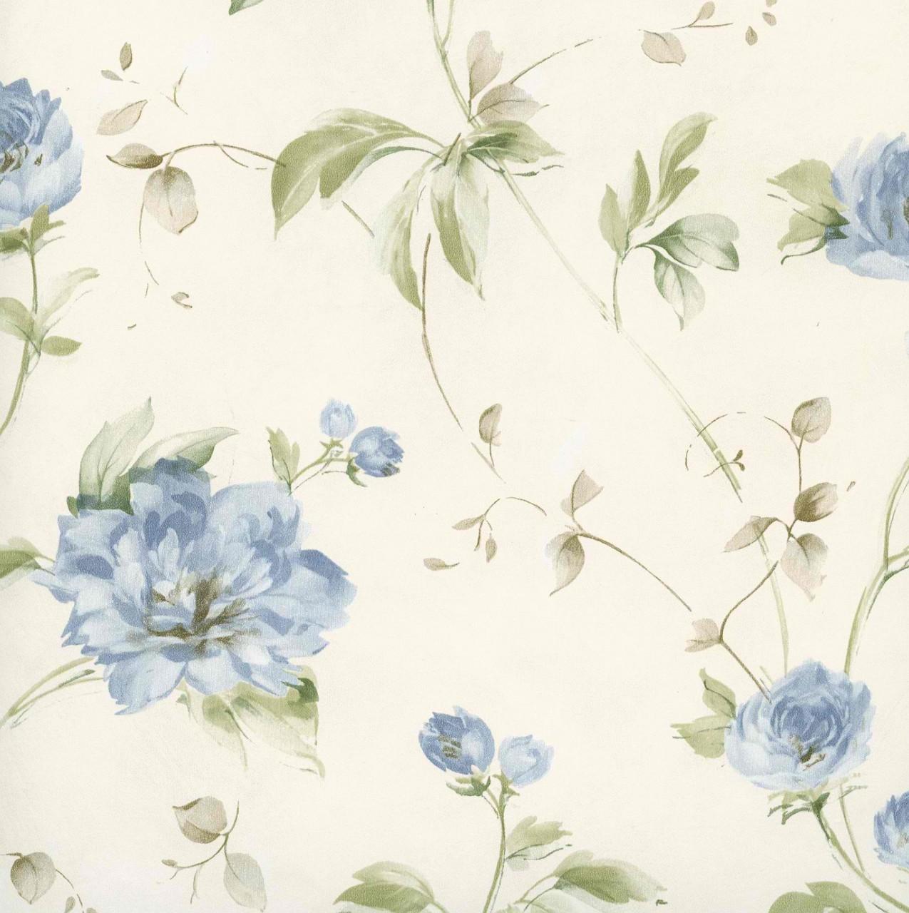 Cream Blue CG11358 Priscilla Peony Wallpaper   Kitchen Bathroom 1275x1280