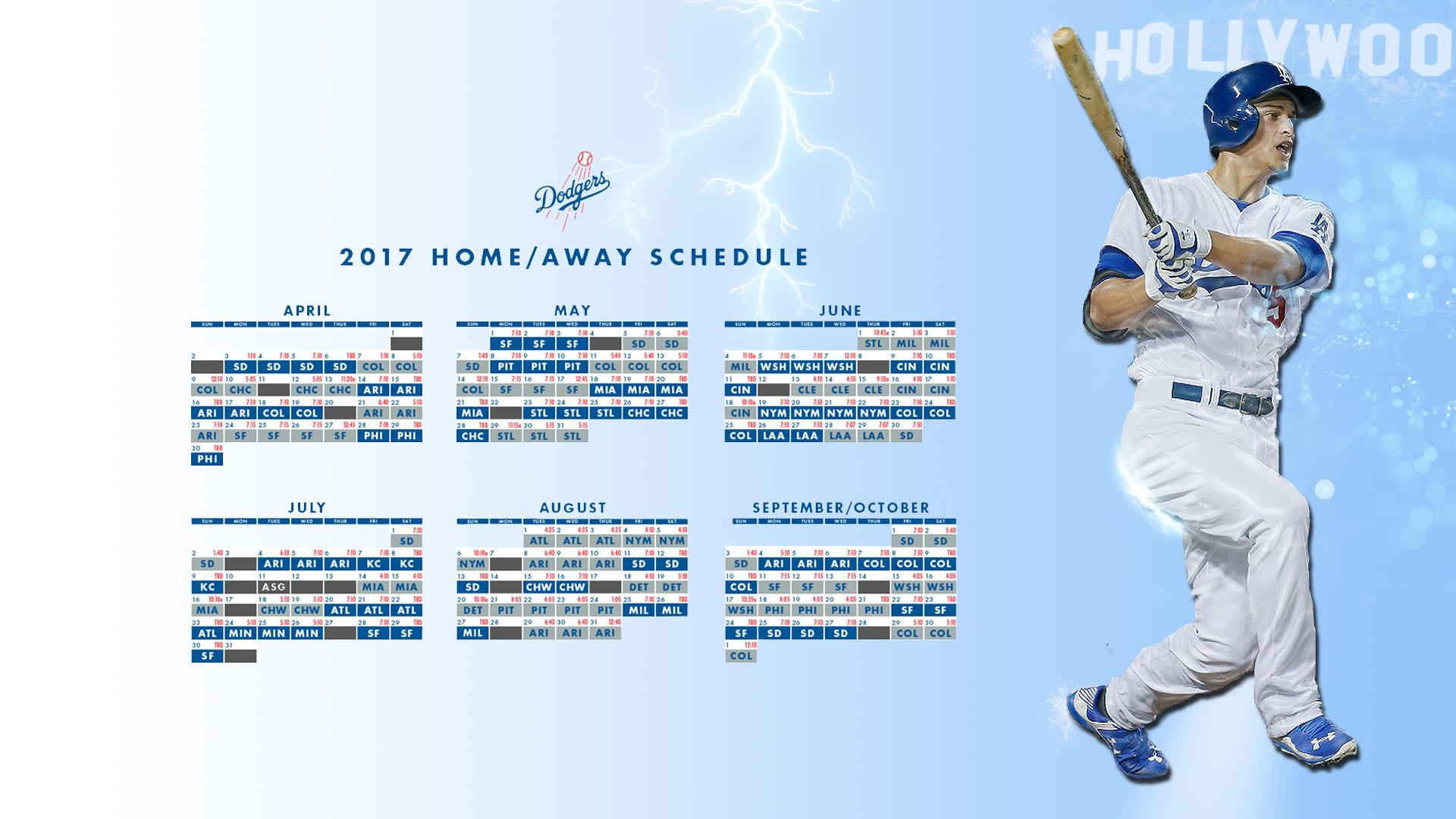 Made a 2017 schedule wallpaper featuring Corey Seager Dodgers 1920x1080
