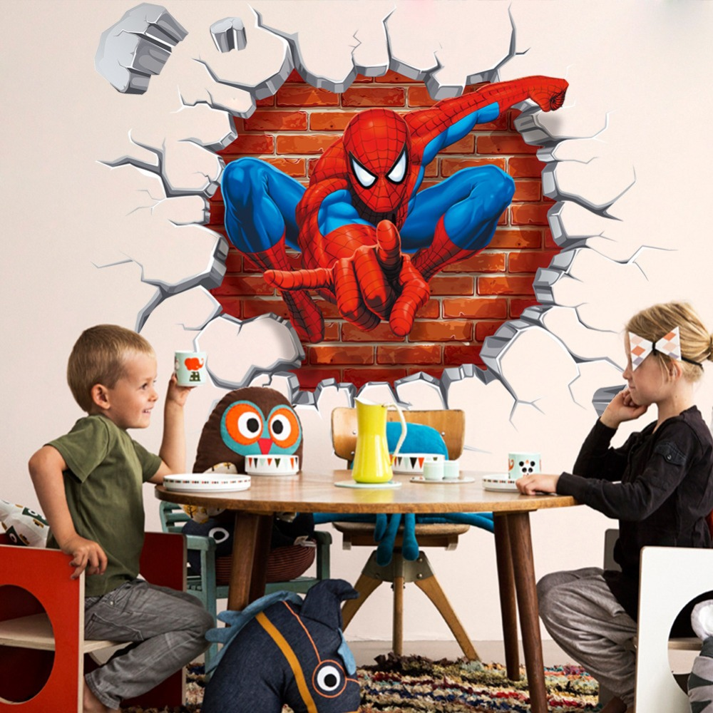 3D Wall Art Spiderman Wall Stickers For Kids Room Decor Adesivo De 1000x1000