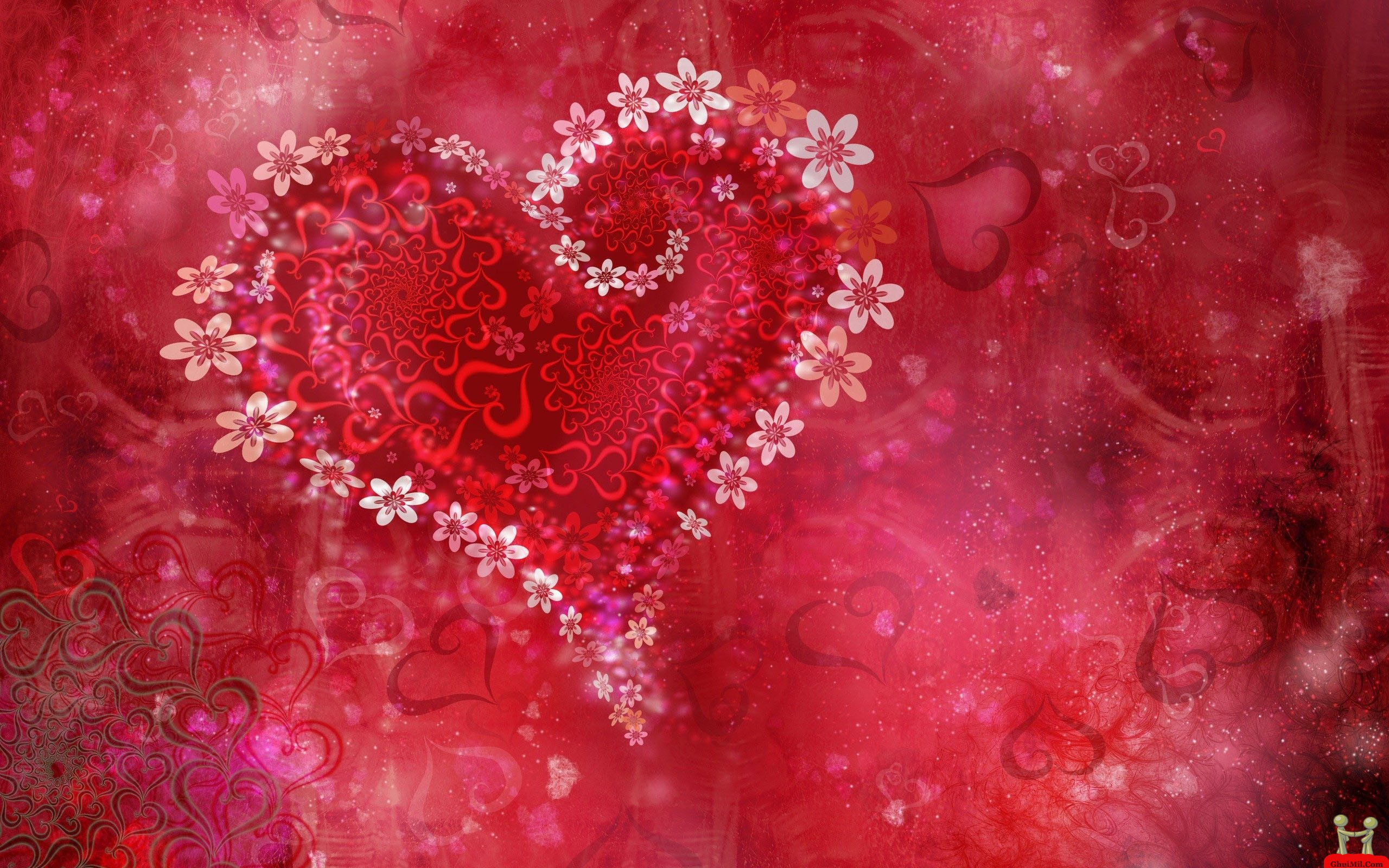 Beautiful 3d Valentine Flowers Love Heart Wildscreen Wallpaper E 2560x1600