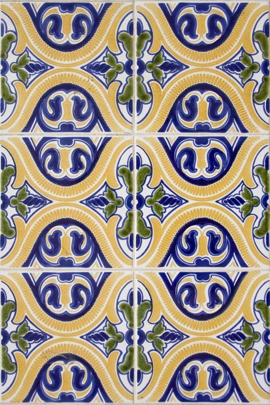 Colorful Yellow Green Blue Spanish Pattern Tile Wallpaper 533x800
