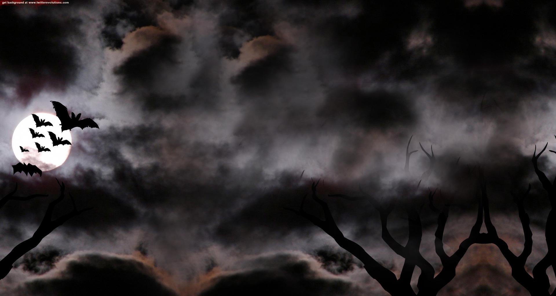 Flying bats Halloween Twitter background 1920x1024