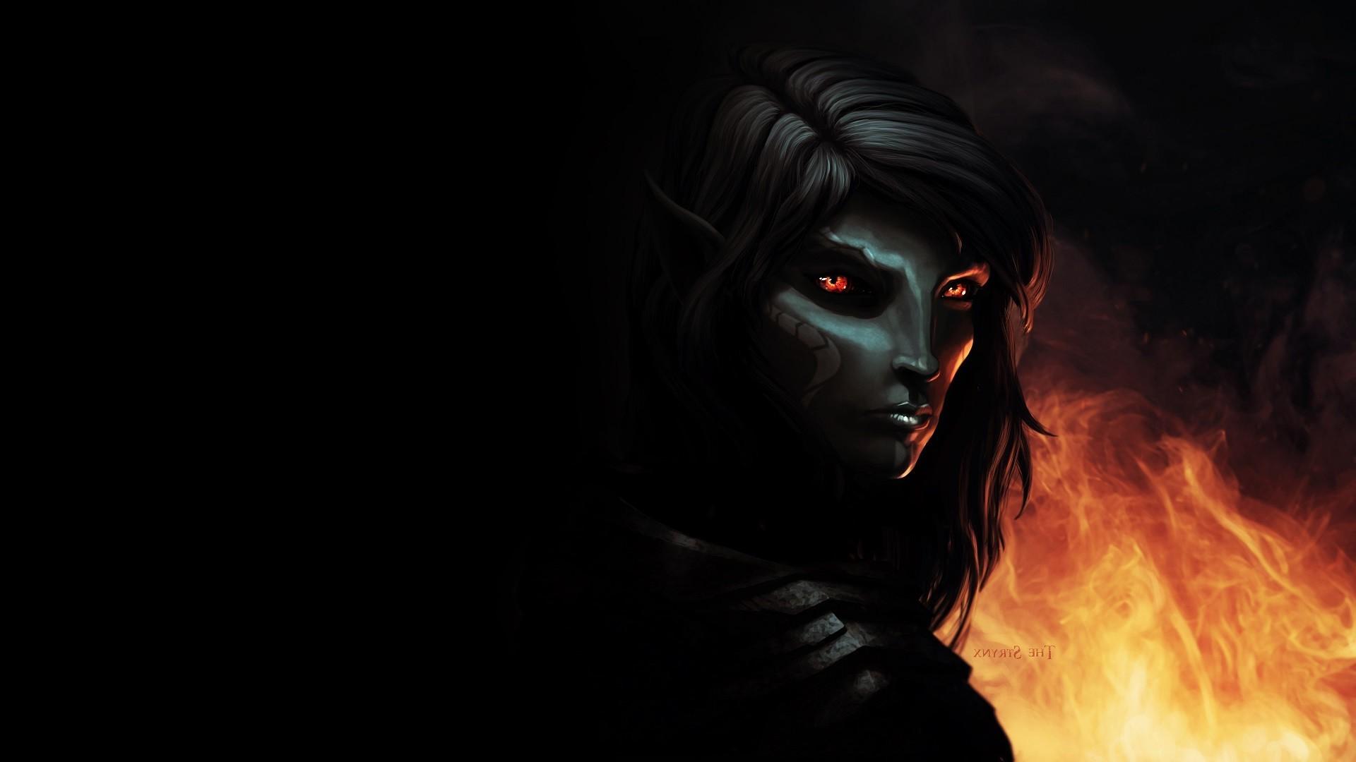 fantasy Art The Elder Scrolls V Skyrim Dark Elf Fire 1920x1080