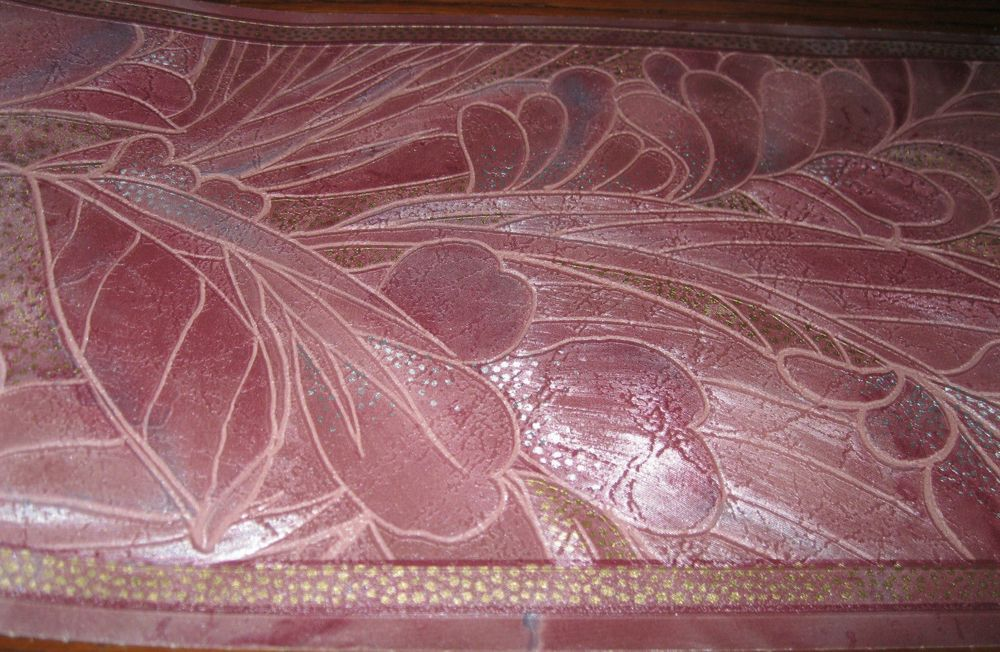 Burgundy Gold Silver Palm Flower Floral Deco Wall Wallpaper Border 1000x652