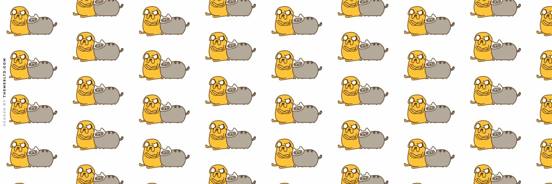 Pusheen Desktop Background for Pinterest 1500x500