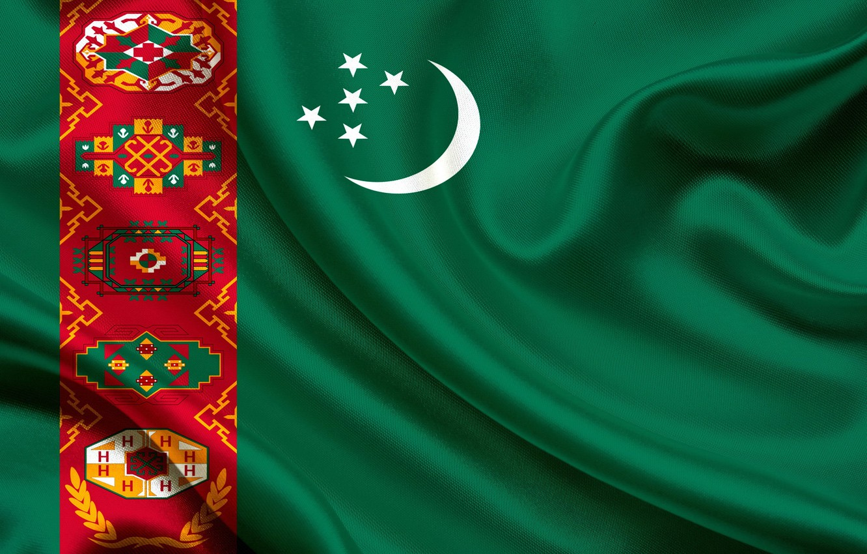 Wallpaper flag green ornament Turkmenistan Turkmen 1332x850