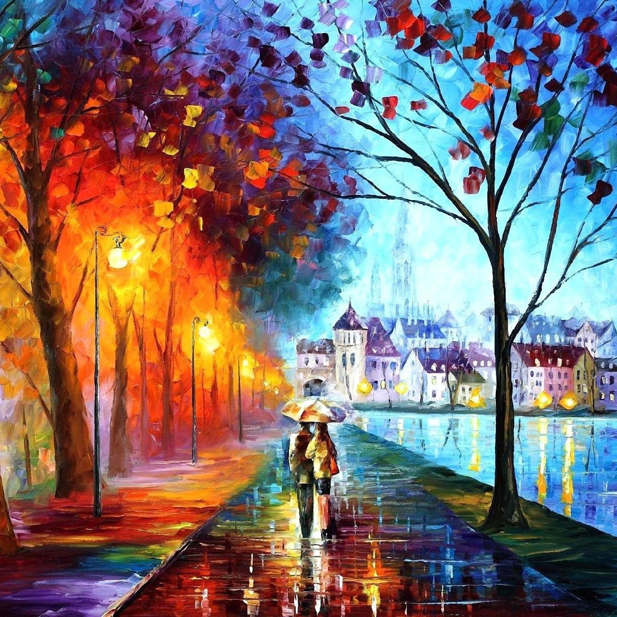 Wallpaper 2048x2048 Autumn Drawing Walking New iPad Air 4 3 iPad 2048x2048