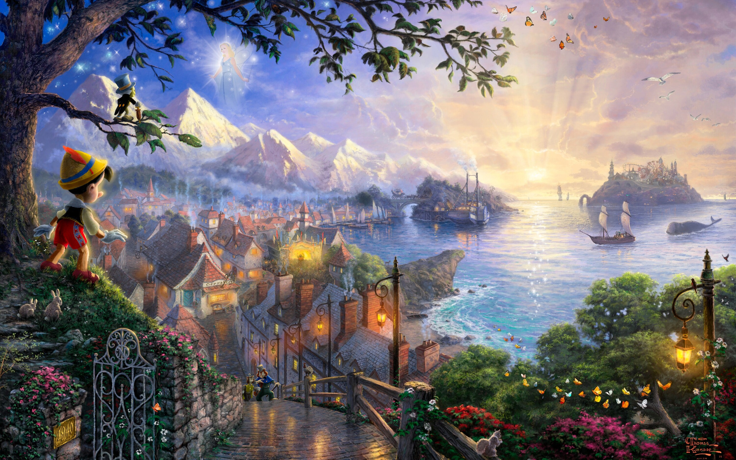 Sunset landscapes disney company movies ships fantasy art 2560x1600
