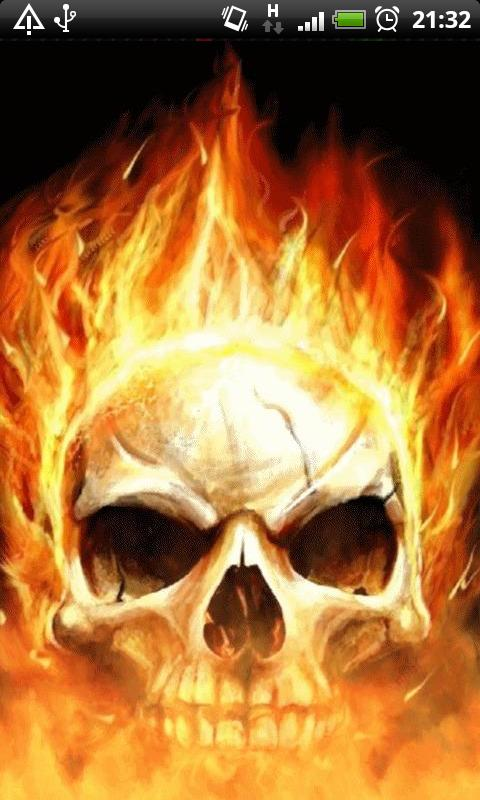 Download Skull Flames of Death Live Wallpaper for your Android 480x800