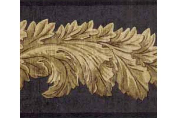Home Black Leaf Molding Wallpaper Border 600x400
