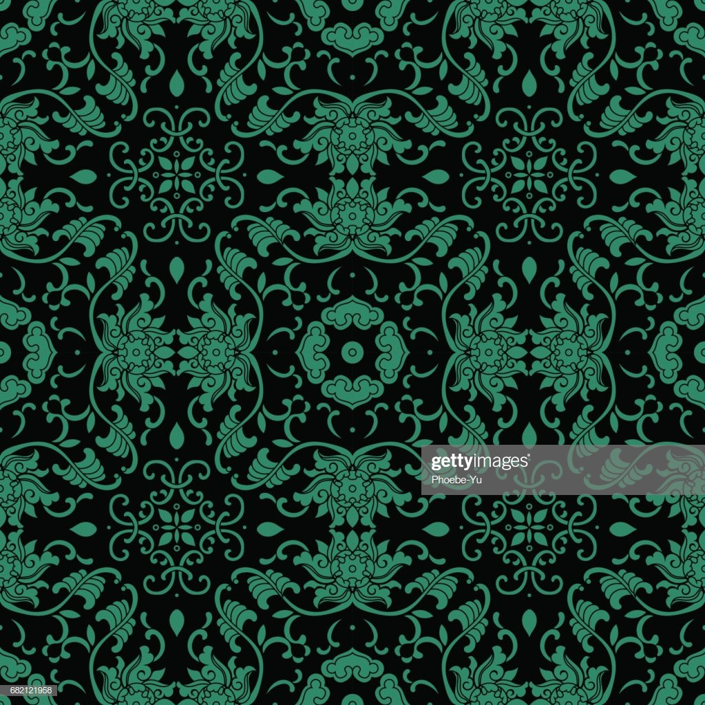 Antique Seamless Background Asian Botanic Garden Spiral Vine Leaf 1024x1024