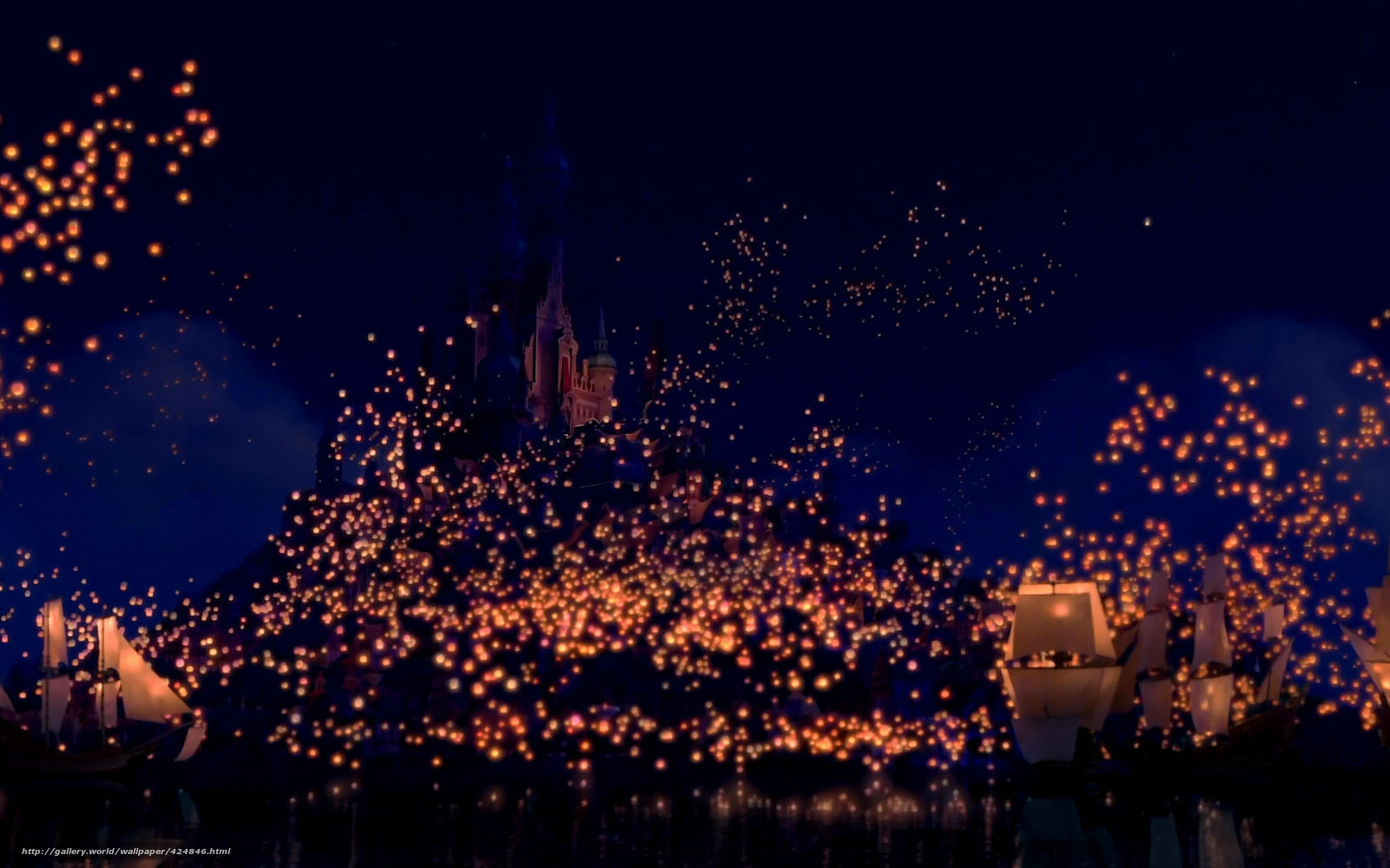 wallpaper Tangled dream flashlights castle desktop wallpaper 1600x1000