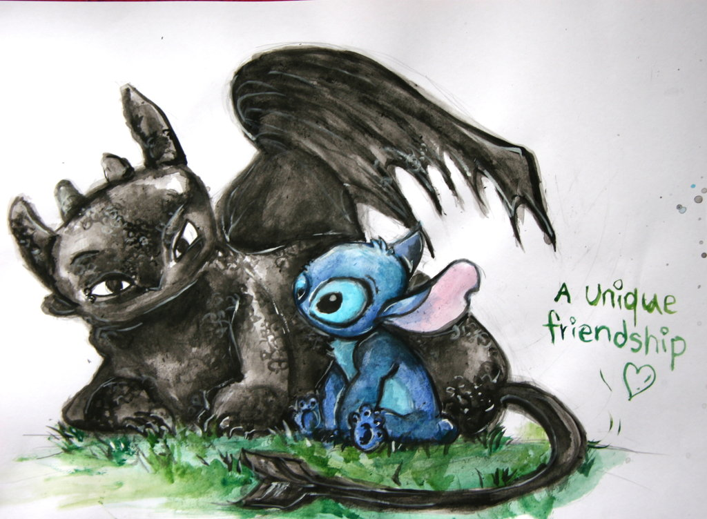Stitch and Toothless by asphaltflowers 1024x752