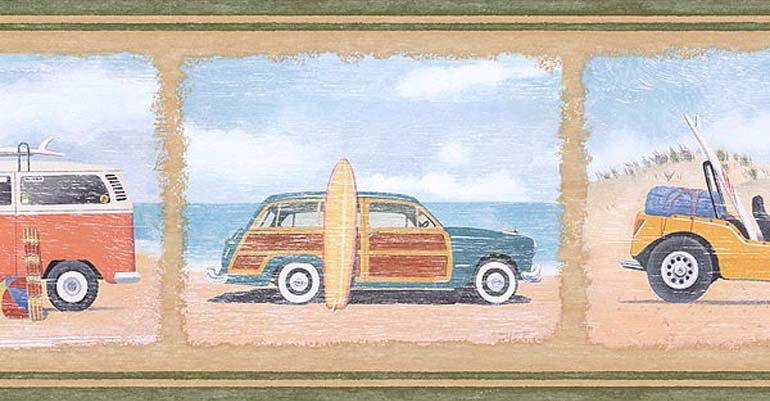 Details about FORD WOODY CAR BEACH SURF WALLPAPER BORDER PB58006B 770x401
