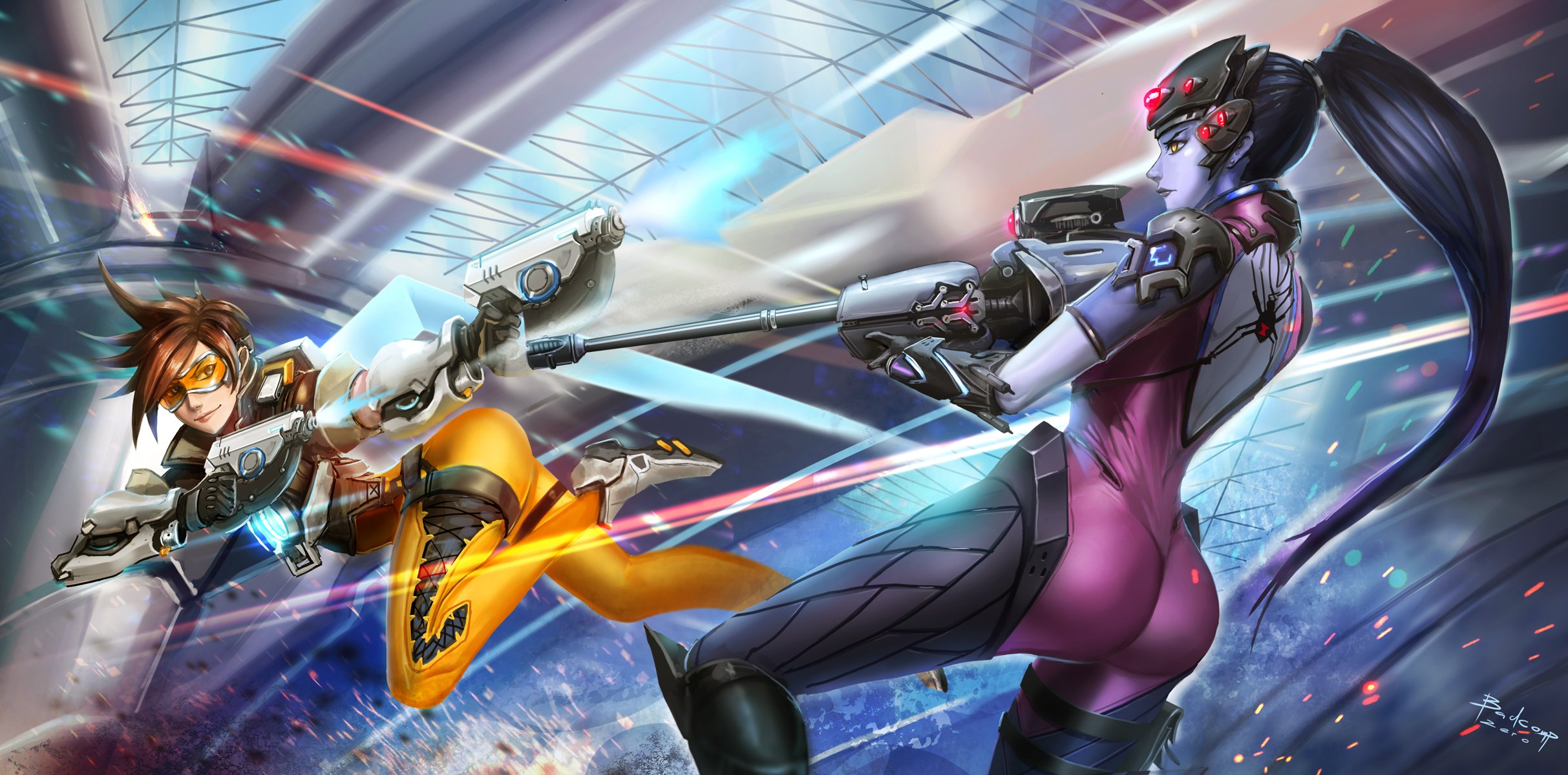 OVERWATCH shooter action fighting sci fi mecha Strategy wallpaper 2426x1200