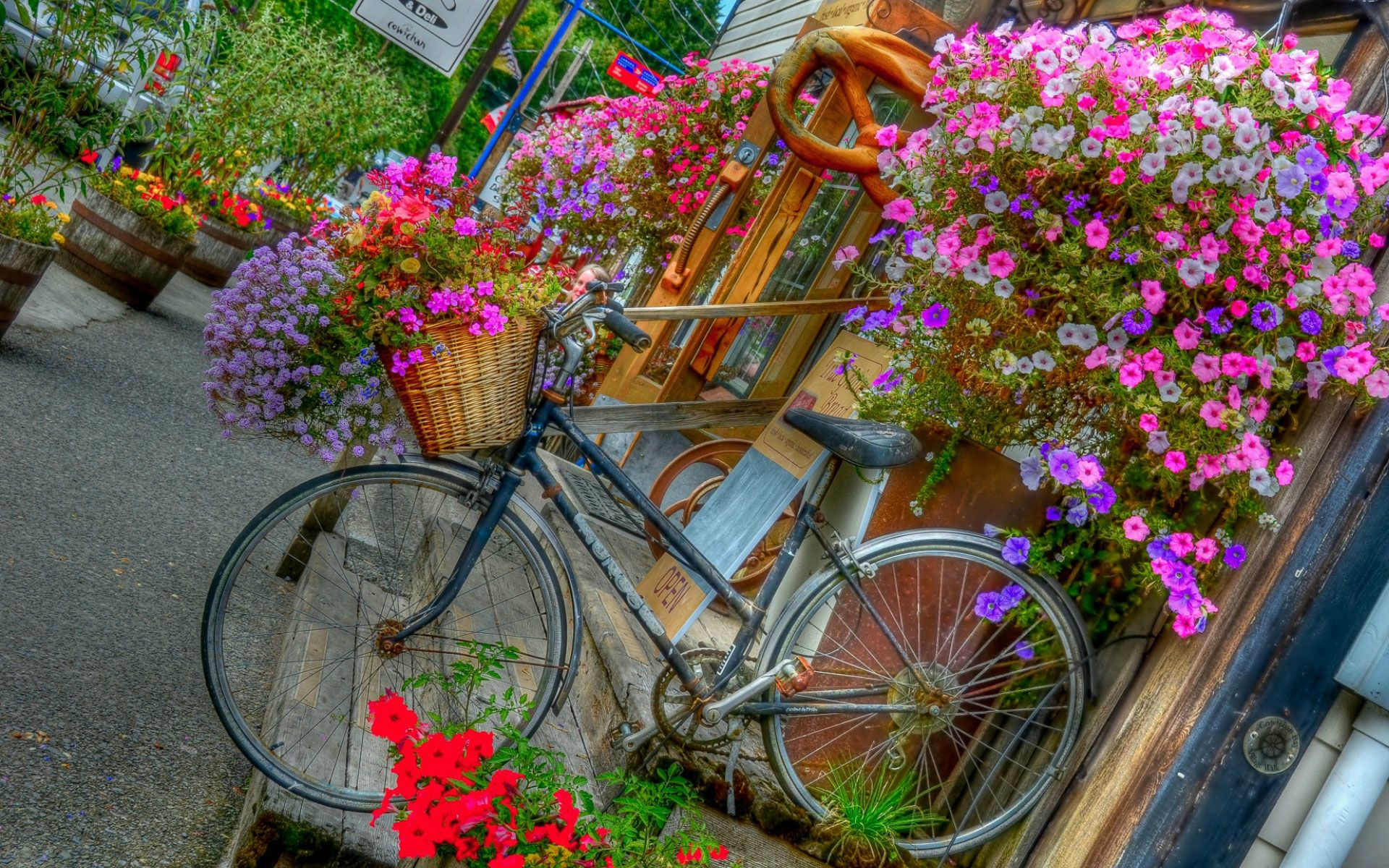bicycles with flowers wallpaper -#main