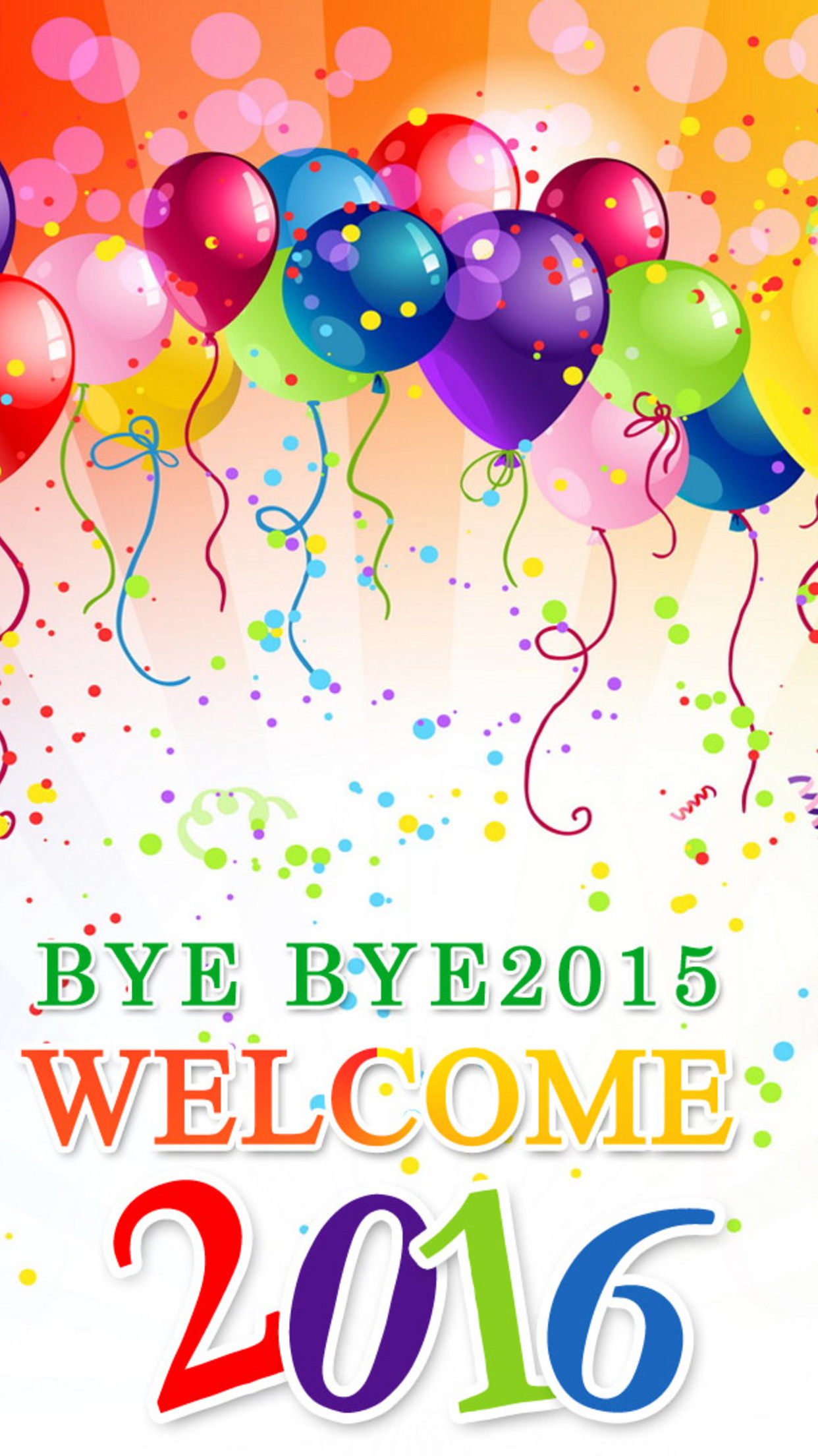 party for the New Year 2016  balloons and confetti 1242x2208 Download 1242x2208
