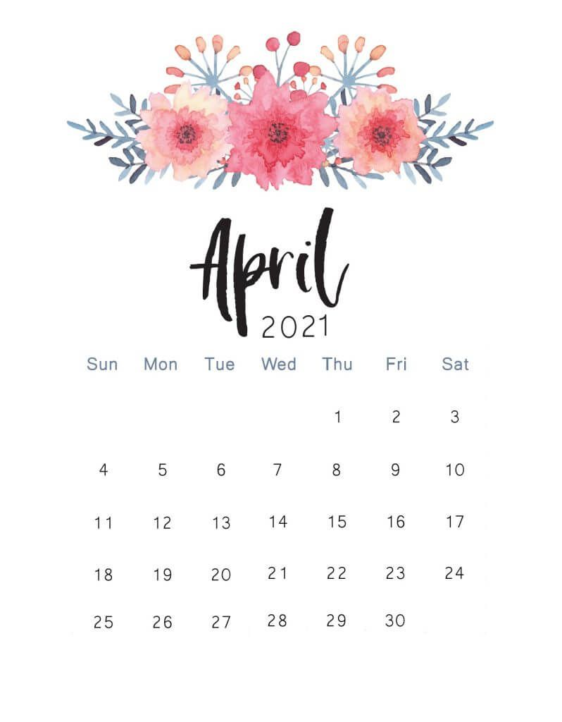 Floral April 2021 Wall Calendar Calendar template Calendar 798x1024