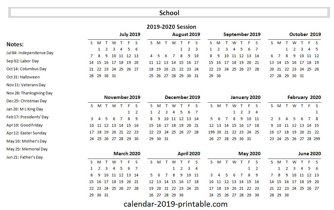 2019 20 school yearly calendar Academic calendar School 1100x694