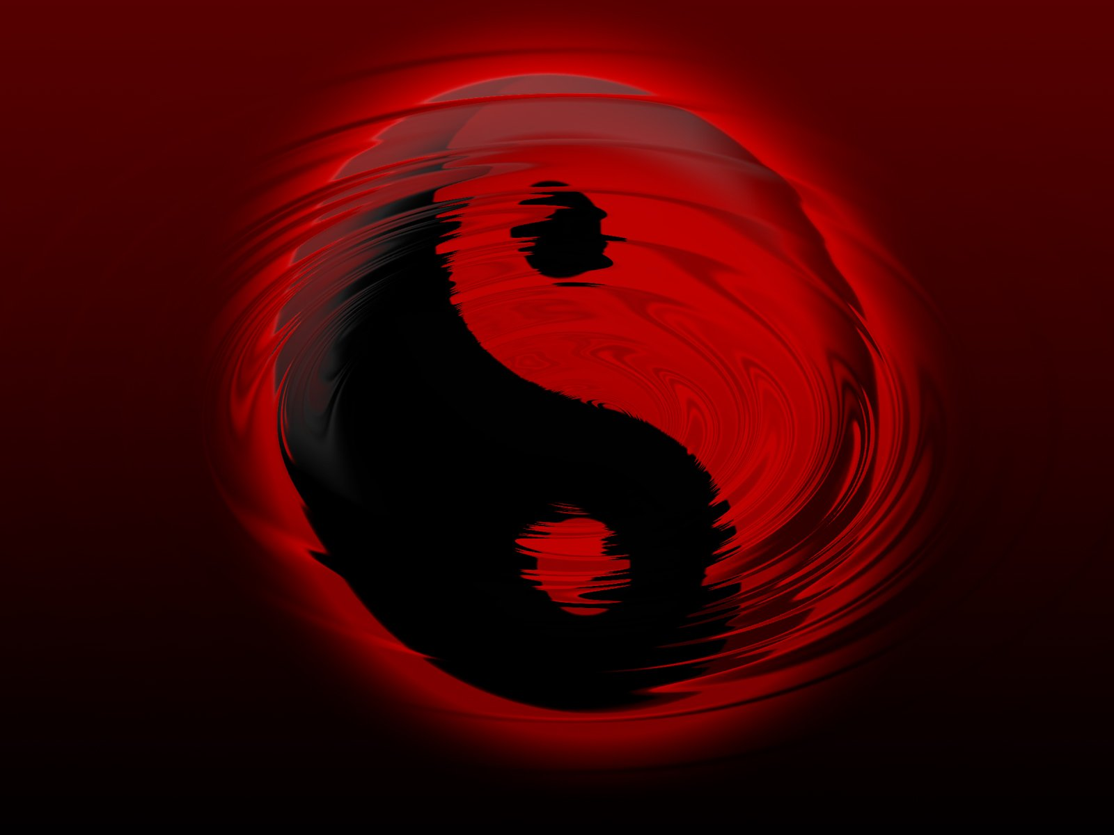 Black and Red Yin Yang 1600x1200
