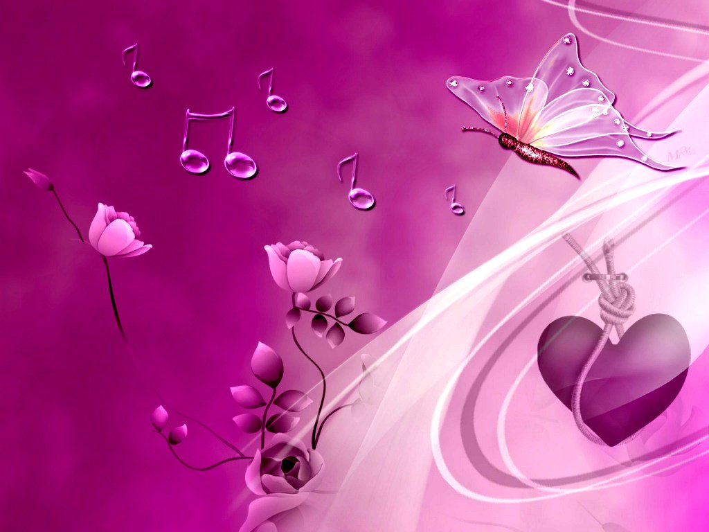 Pink Heart And Butterflies Wallpapers HD Wallpaper Vector 1024x768