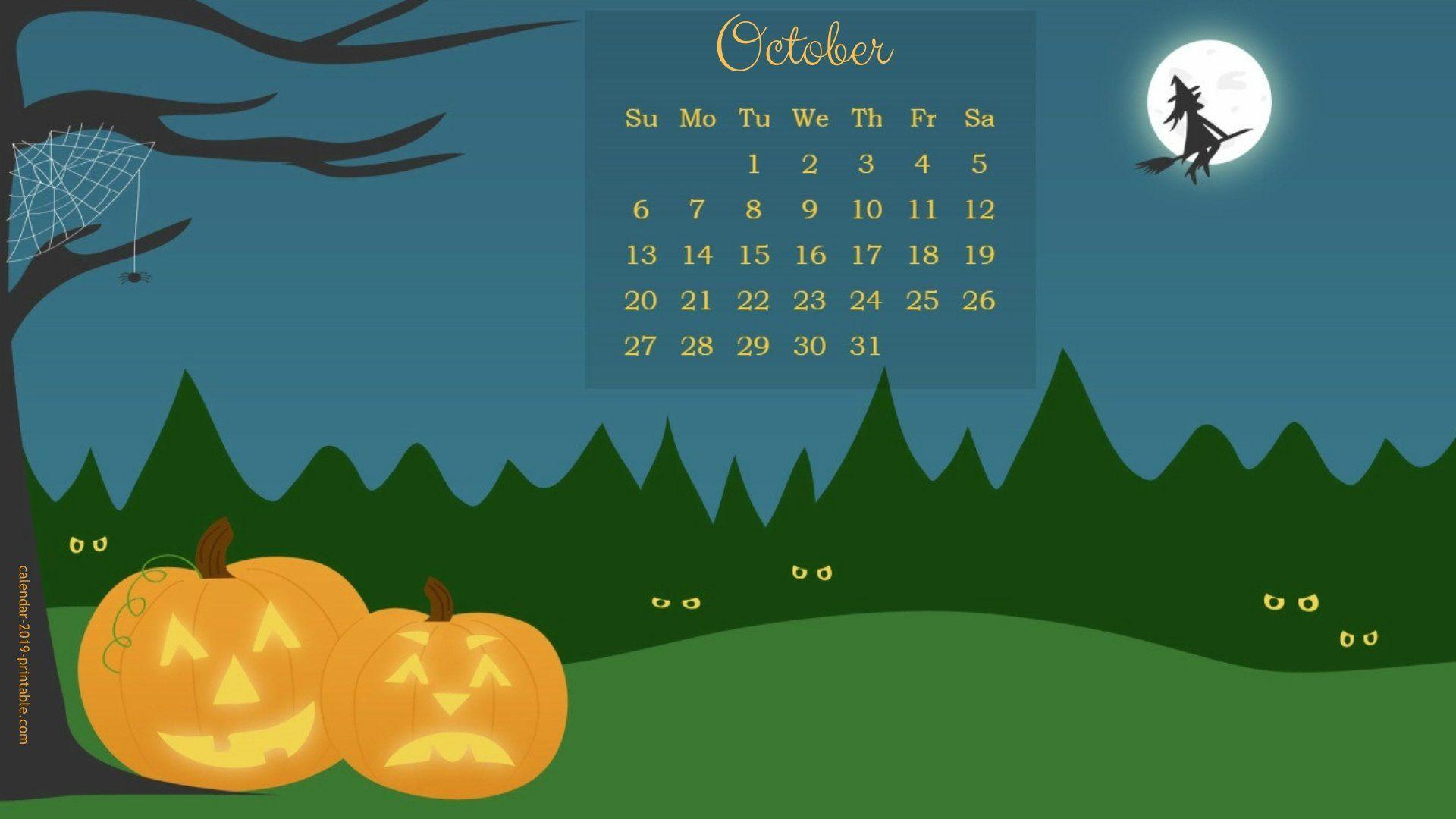 october 2019 calendar halloween wallpaper Calendar 2019 1920x1080