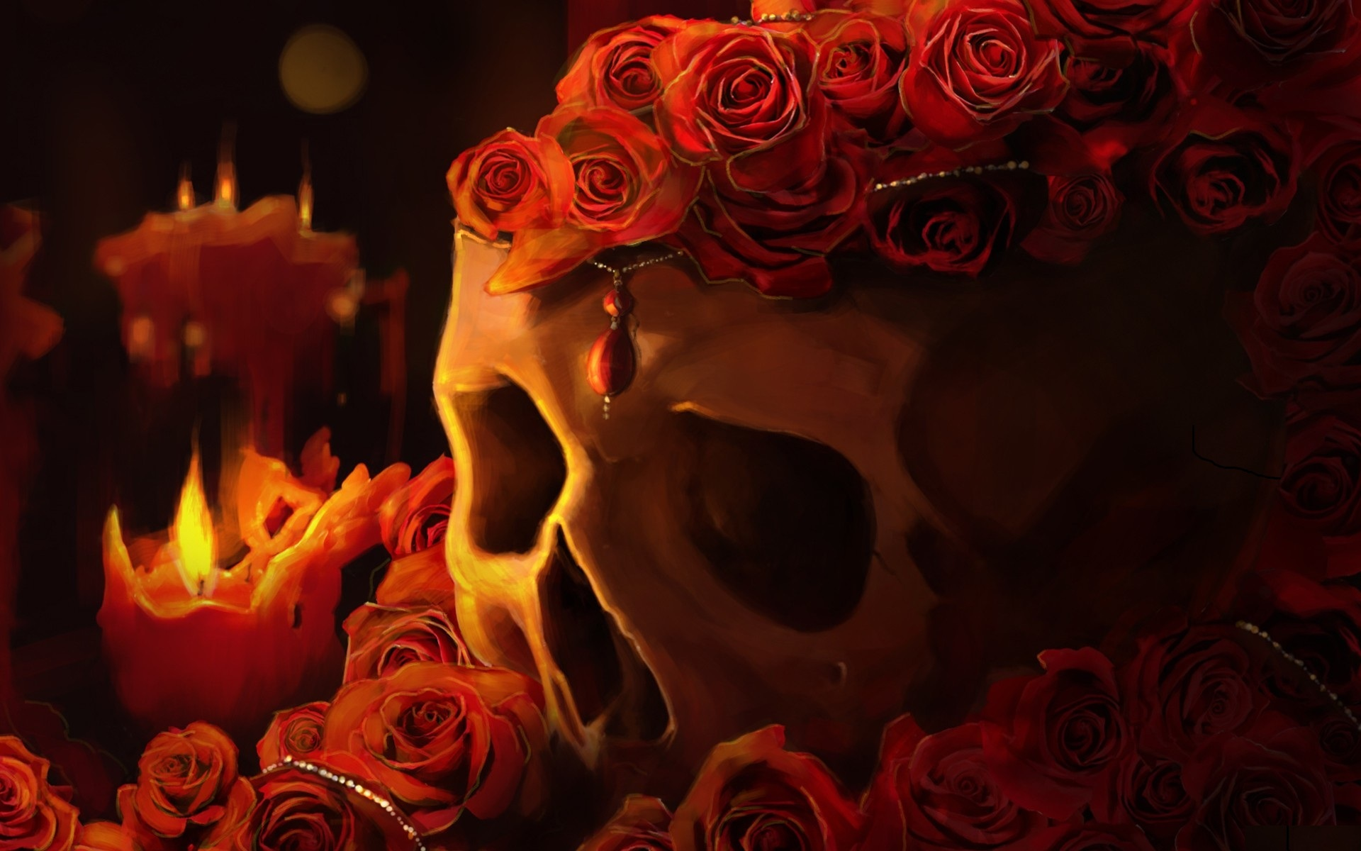 Skull pendants red rose flowers candles fire flame wallpapers 1920x1200