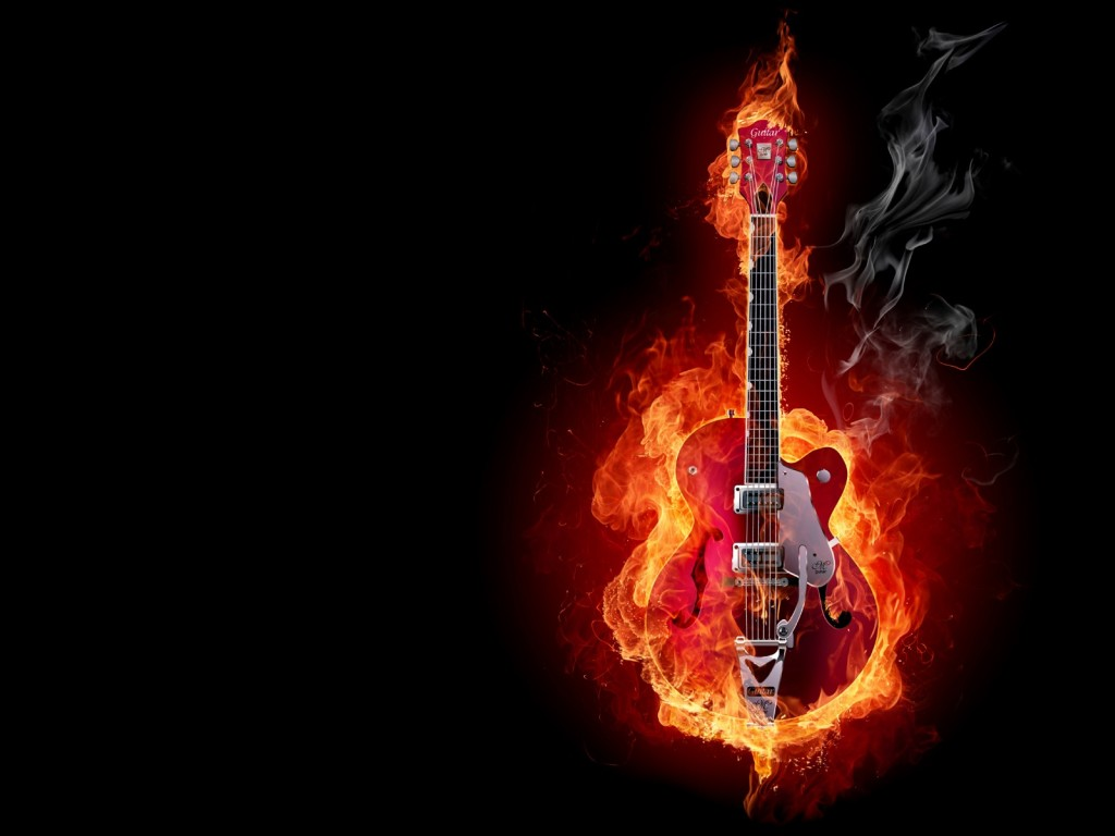 Fire Electric Guitar HD Windows 8 Wallpaper HD 1024x768