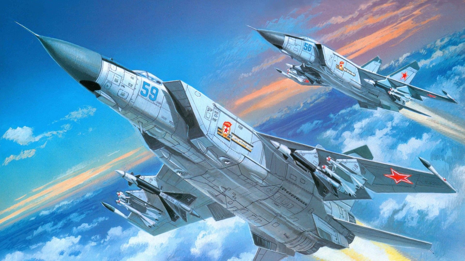 MiG 25 FoxBat Airplane fighter Aircraft art Air fighter 1920x1080