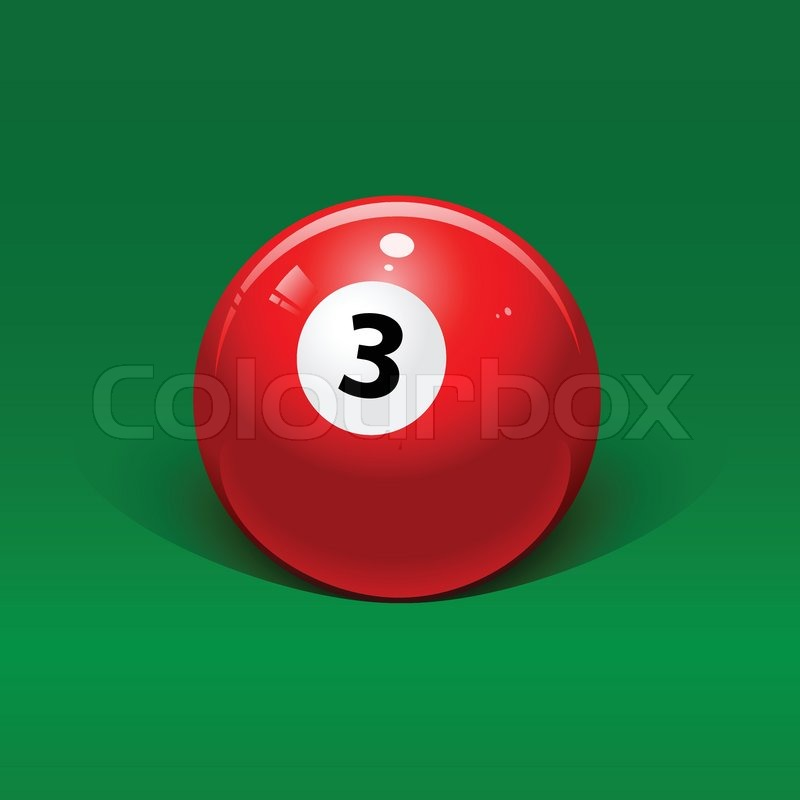 Stock Vector Of Red Billiard Ball Number Three On A Green Background 800x800
