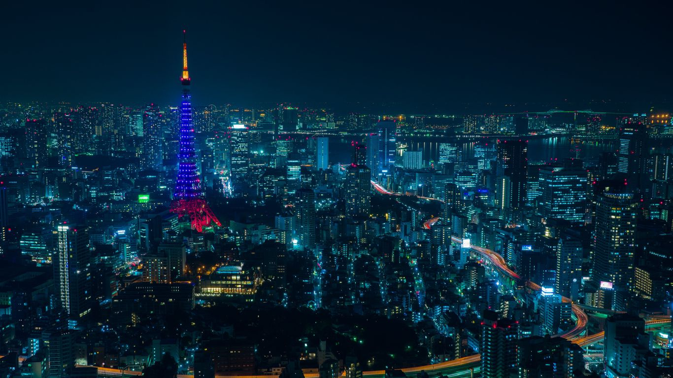 Tokyo Night City Skyscrapers Lights Desktop Background 1366x768