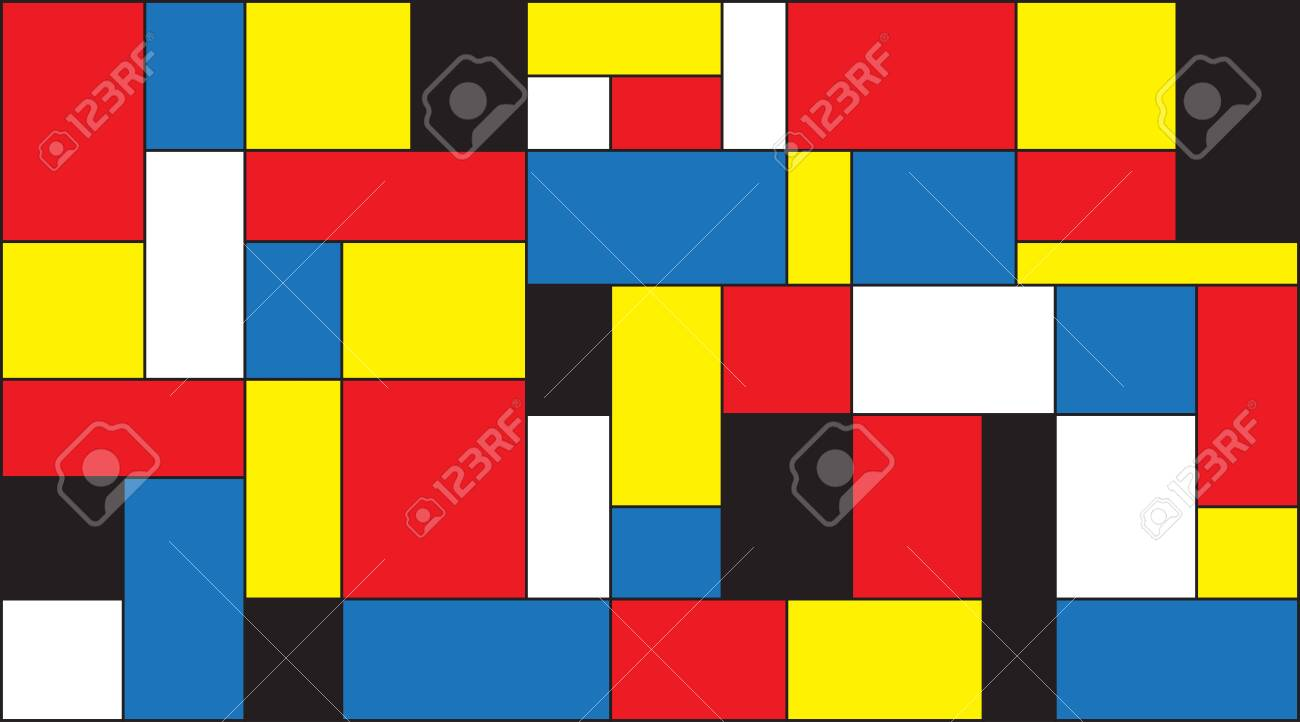 Colorful Color Blocks Background In Mondrian Style Vector 1300x722