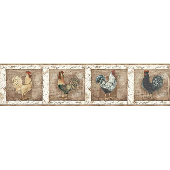 White Tan CB5591BD Rooster Wallpaper Border   Rustic Country 650x650