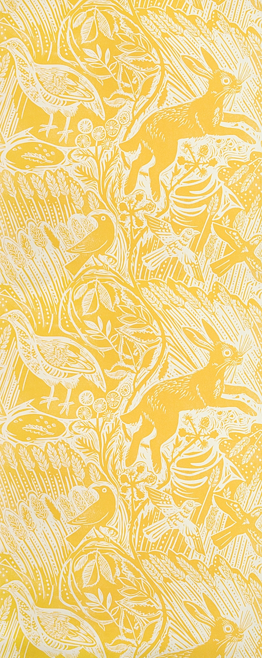 Harvest Hare Wallpaper Excellent lino print wallpaper with Mark Hearld 534x1338
