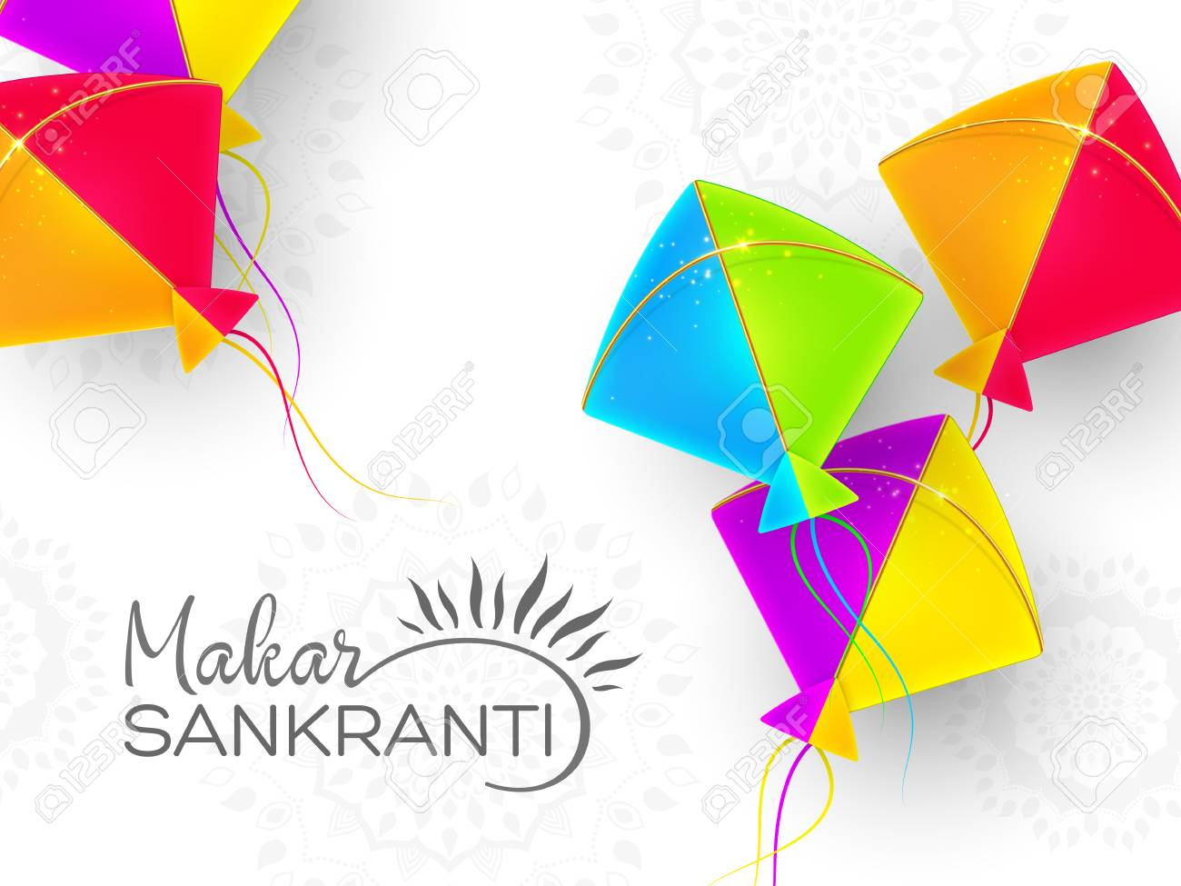 Makar Sankranti Holiday Design With Colorful Kites White 1300x975